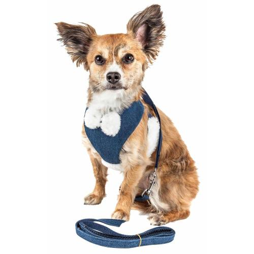 small resolution of luxe pom draper medium 2 in 1 adjustable dog harness leash with pom pom bowtie