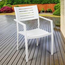 Atlantic Jordan White Stackable Aluminum Outdoor Dining