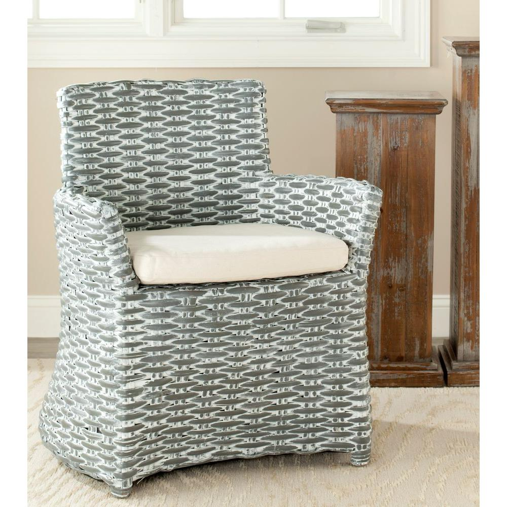 Rattan Accent Chair Safavieh Cabana Grey White Wash Rattan Arm Chair