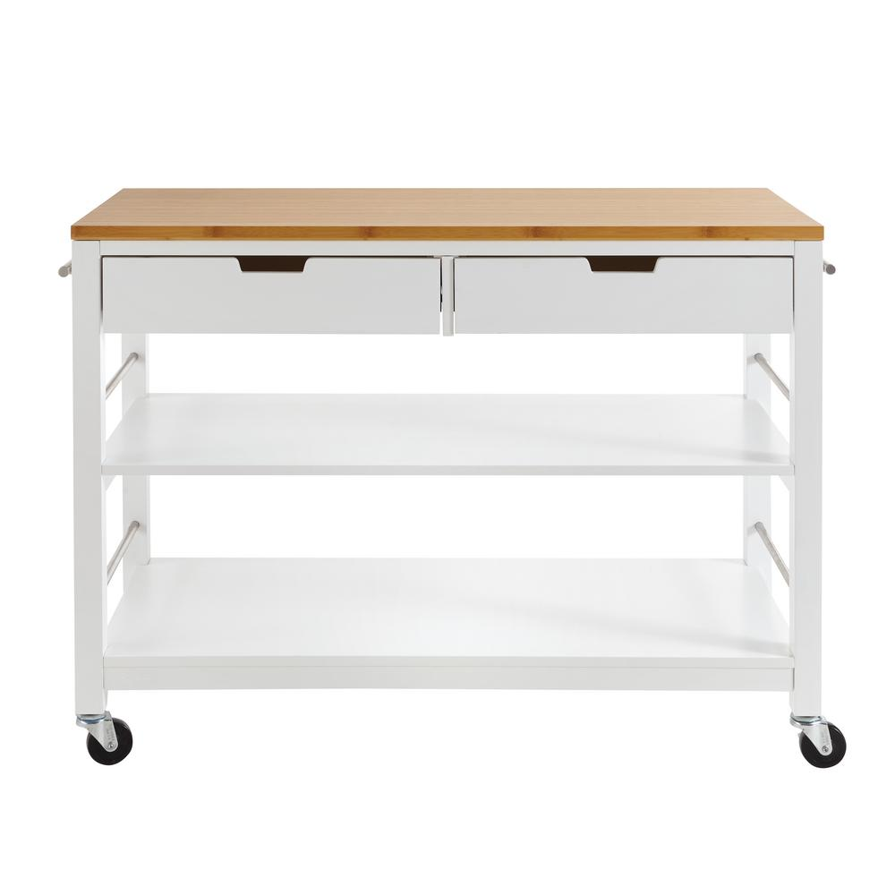 kitchen workbench sears appliance packages trinity 48 in white bamboo island with drawers tbflwh 1407 the home depot