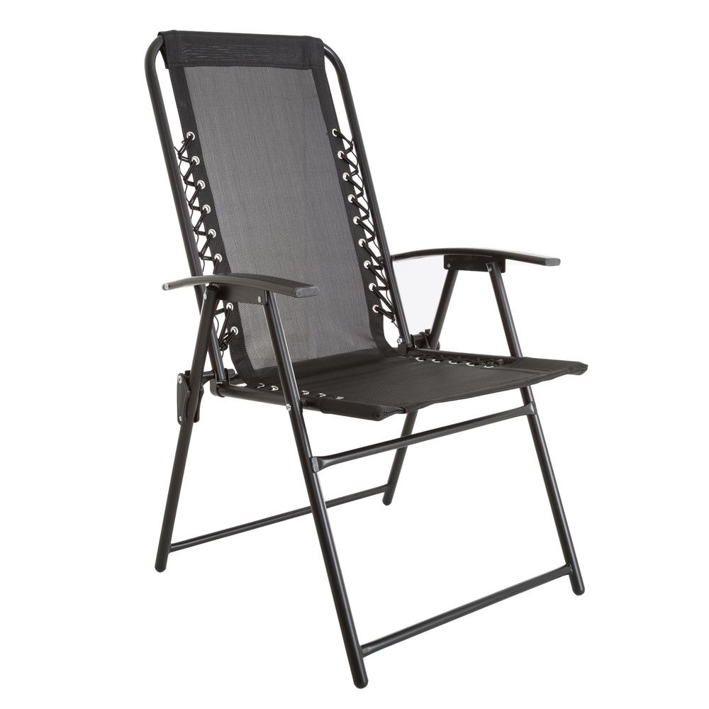 fold out lawn chair best chairs for posture reddit pure garden patio in black m150120 the home depot