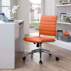 Orange Office Chair Japanese Table And Chairs Wheels 4 Up Desk Home Jive Armless Mid Back In