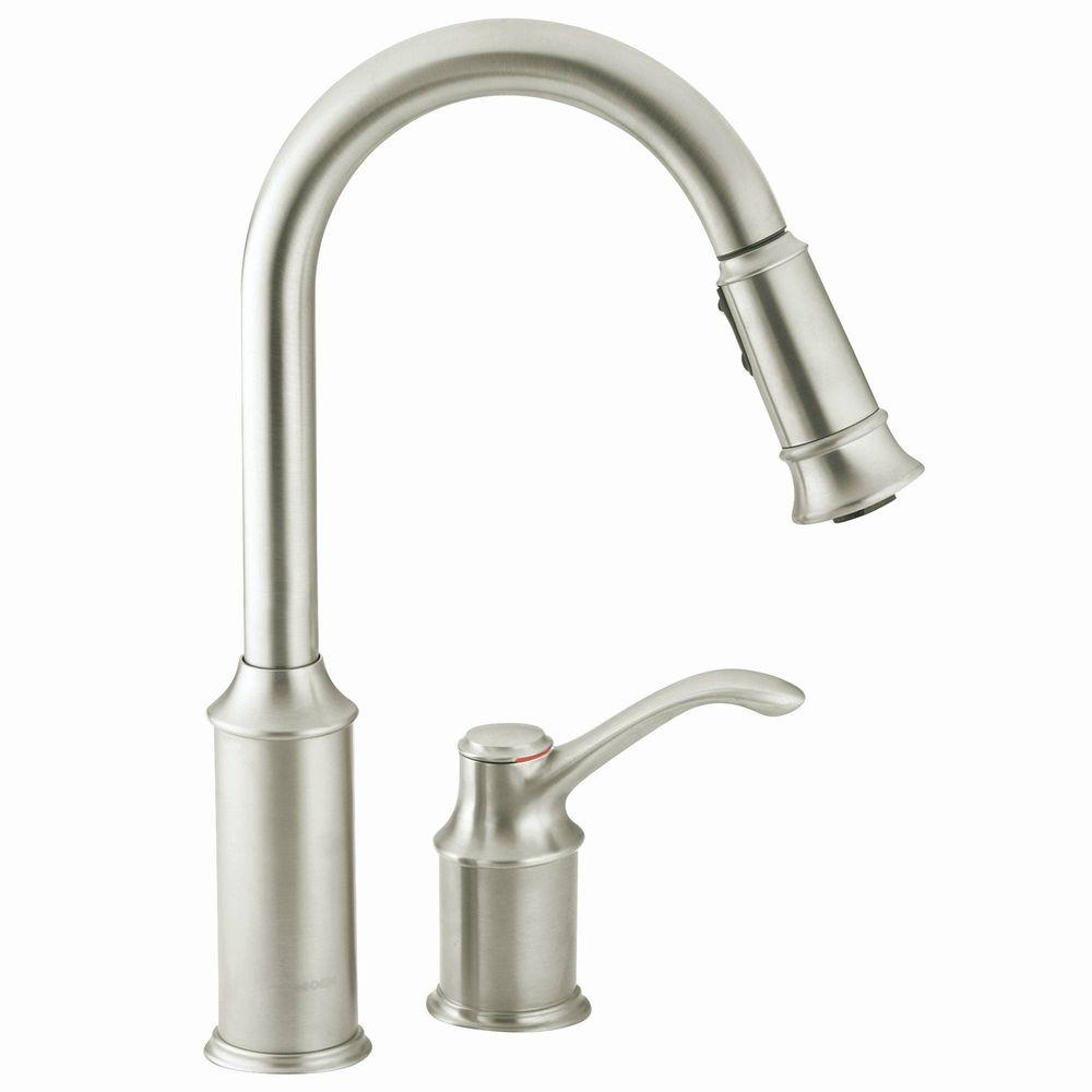 kitchen faucet moen small design ideas aberdeen single handle pull down sprayer with reflex in classic stainless