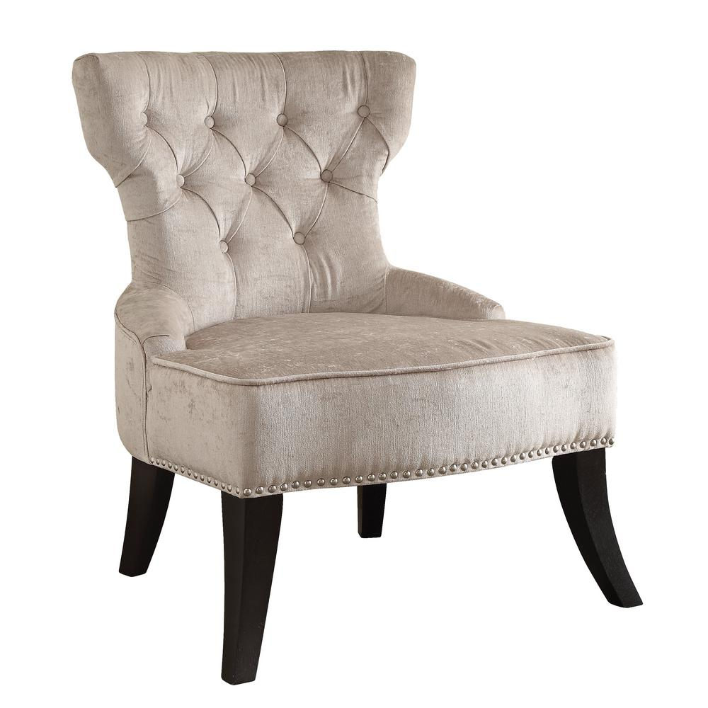 Vintage Accent Chair Colton Vintage Style Button Tufted Parchment Cream Velvet Chair