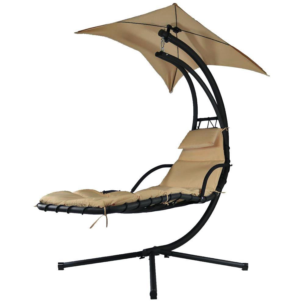Chair With Umbrella Sunnydaze Decor Floating Metal Patio Chaise Lounge Chair With Umbrella And Beige Cushions