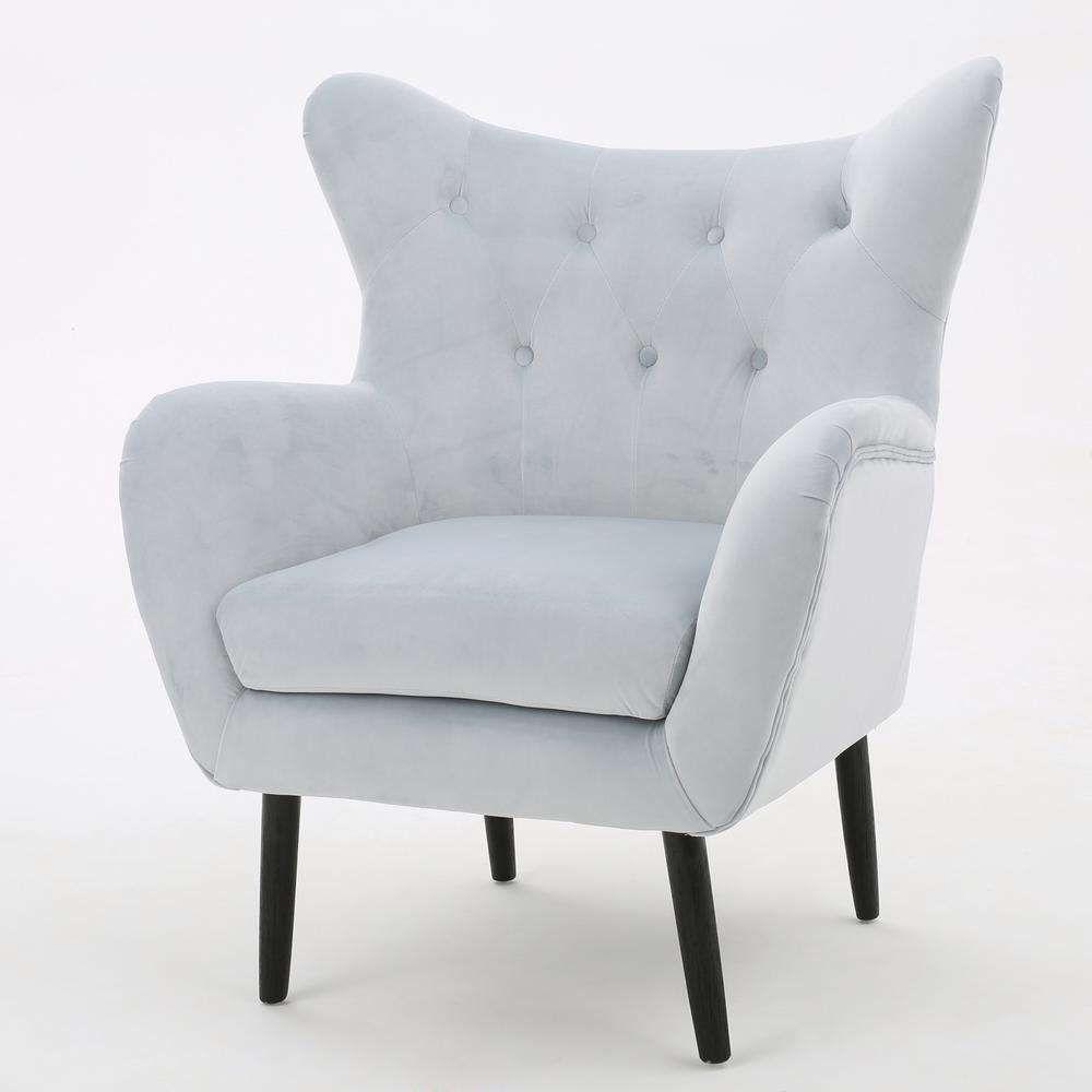 velvet tufted chair upside down for back pain noble house seigfried light grey new arm 298853