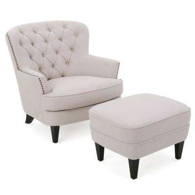 living room chair with ottoman pier 1 chairs canada beige furniture the home depot tafton natural fabric tufted club and set