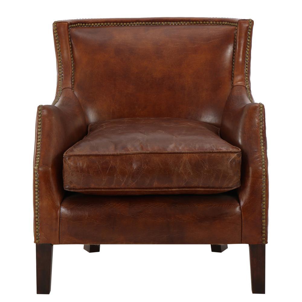 Noble House Njord Vintage Light Brown Leather Vintage Club