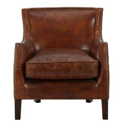 brown accent chairs tall bean bag chair the home depot njord vintage light leather club