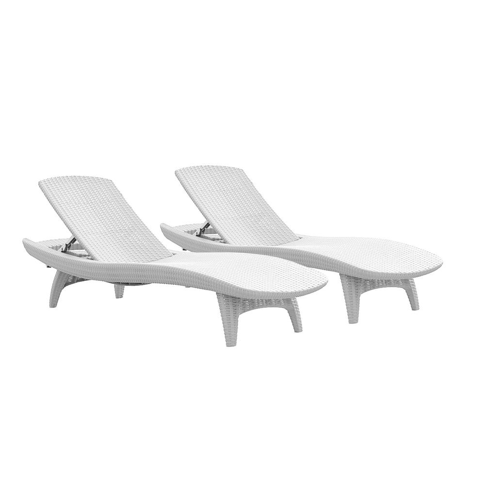 Resin Chairs Keter Pacific Oasis White All Weather Adjustable Resin Outdoor Chaise Lounge Chairs 2 Piece Set
