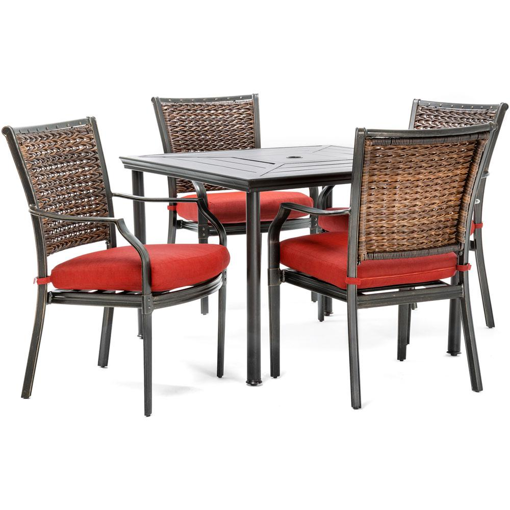 Dining Room Chairs Set Of 4 Hanover Mercer 5 Piece Aluminum Outdoor Dining Set With Crimson Red Cushions 4 Dining Chairs And A 40 In Square Table