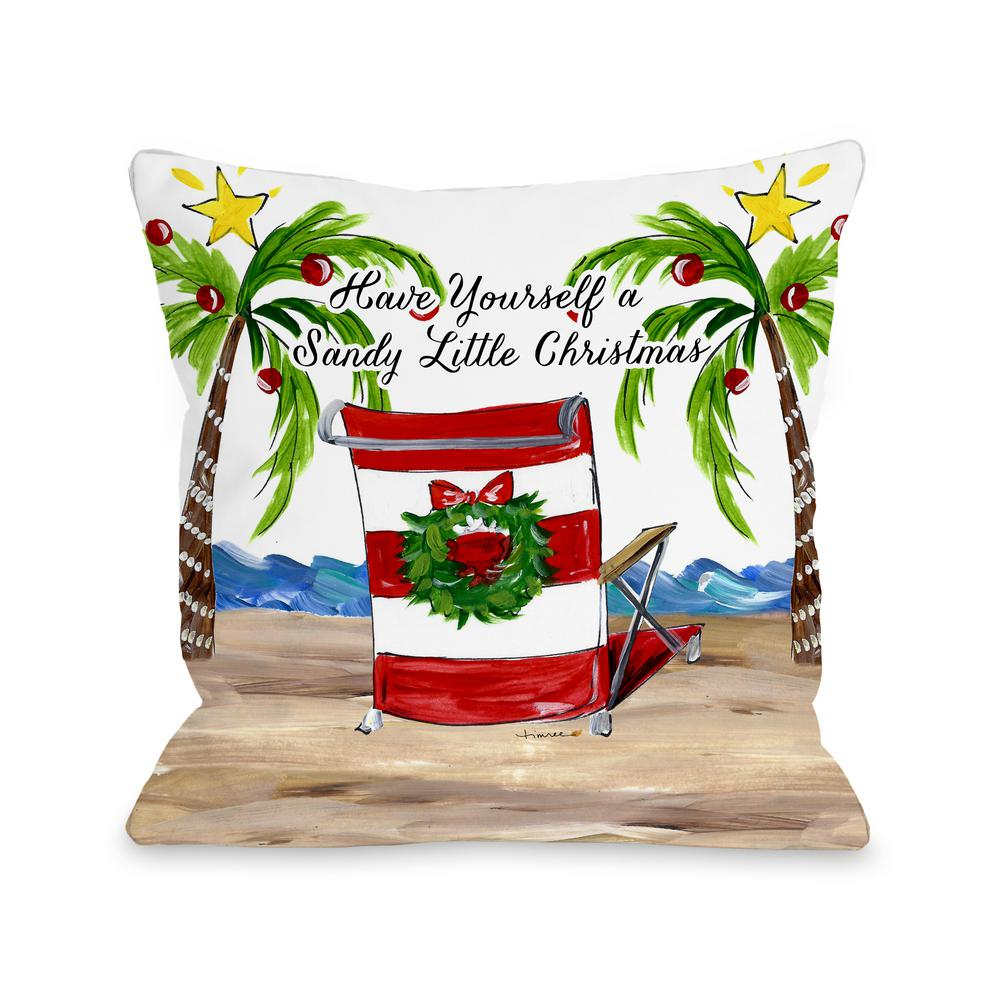 beach chair pillow with strap fire pit and adirondack chairs sandy christmas 16 in x decorative 74317pl16 the home depot