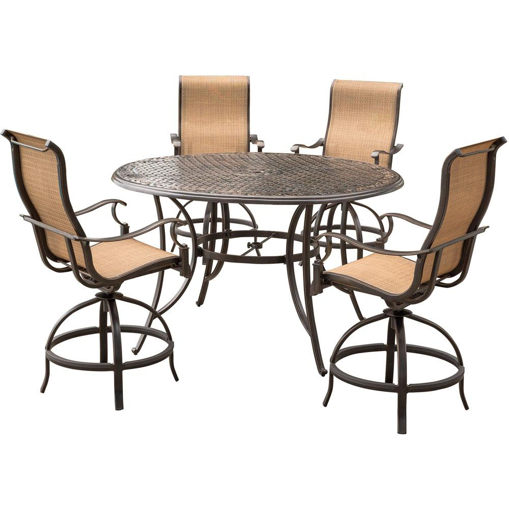 bar height kitchen table sets corner bench seating with storage agio somerset 5 piece aluminum round outdoor dining set swivels and
