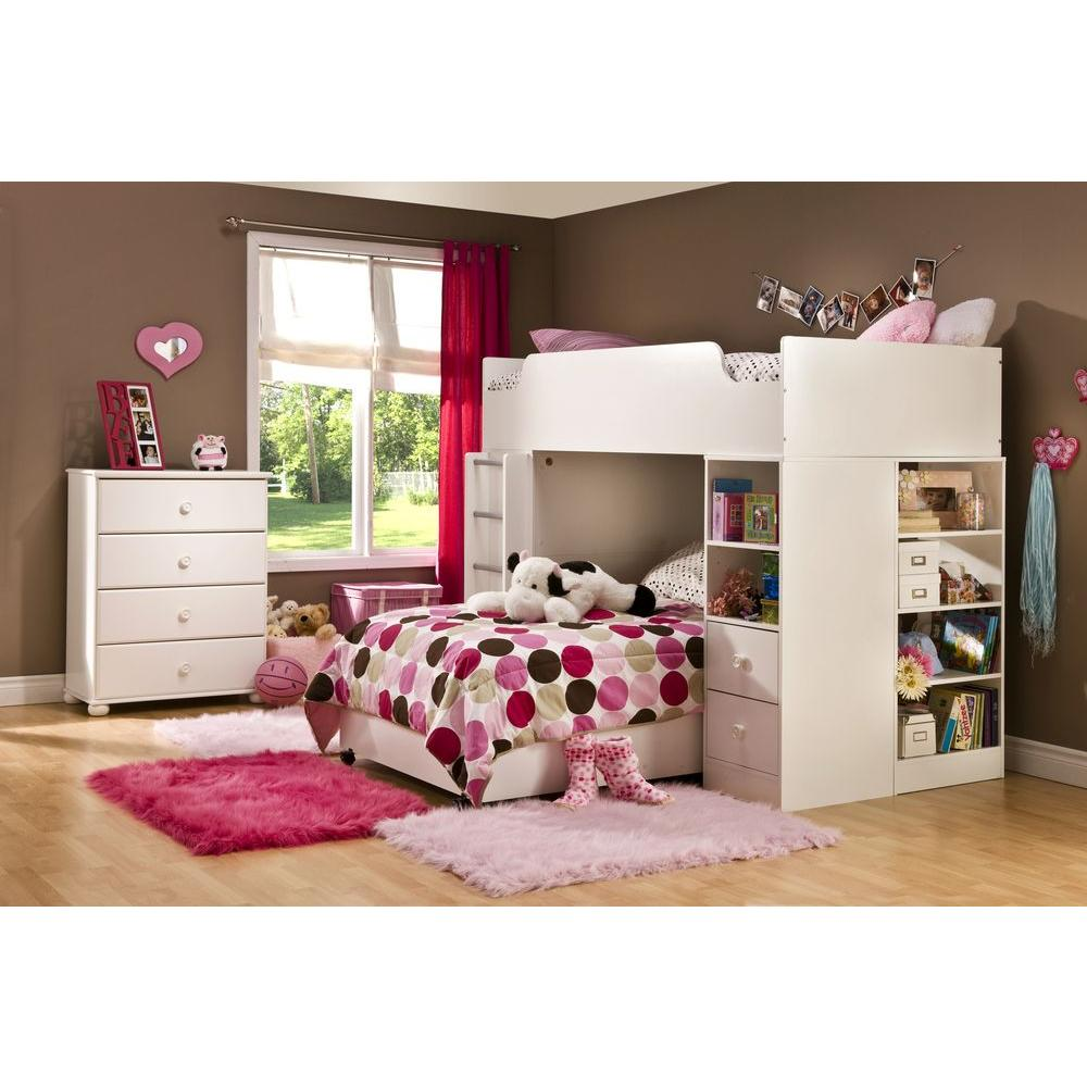 South Shore Logik 4Piece Pure White Twin Kids Bedroom Set3360A4  The Home Depot