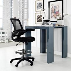 Drafting Office Chair Plush Modway Veer Stool In Black Eei 1423 Blk The Home Depot