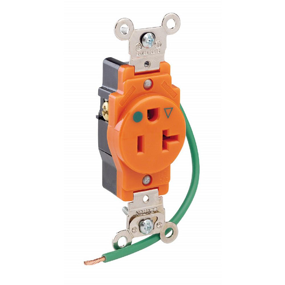 hight resolution of 20 amp hospital grade extra heavy duty isolated ground single outlet orange