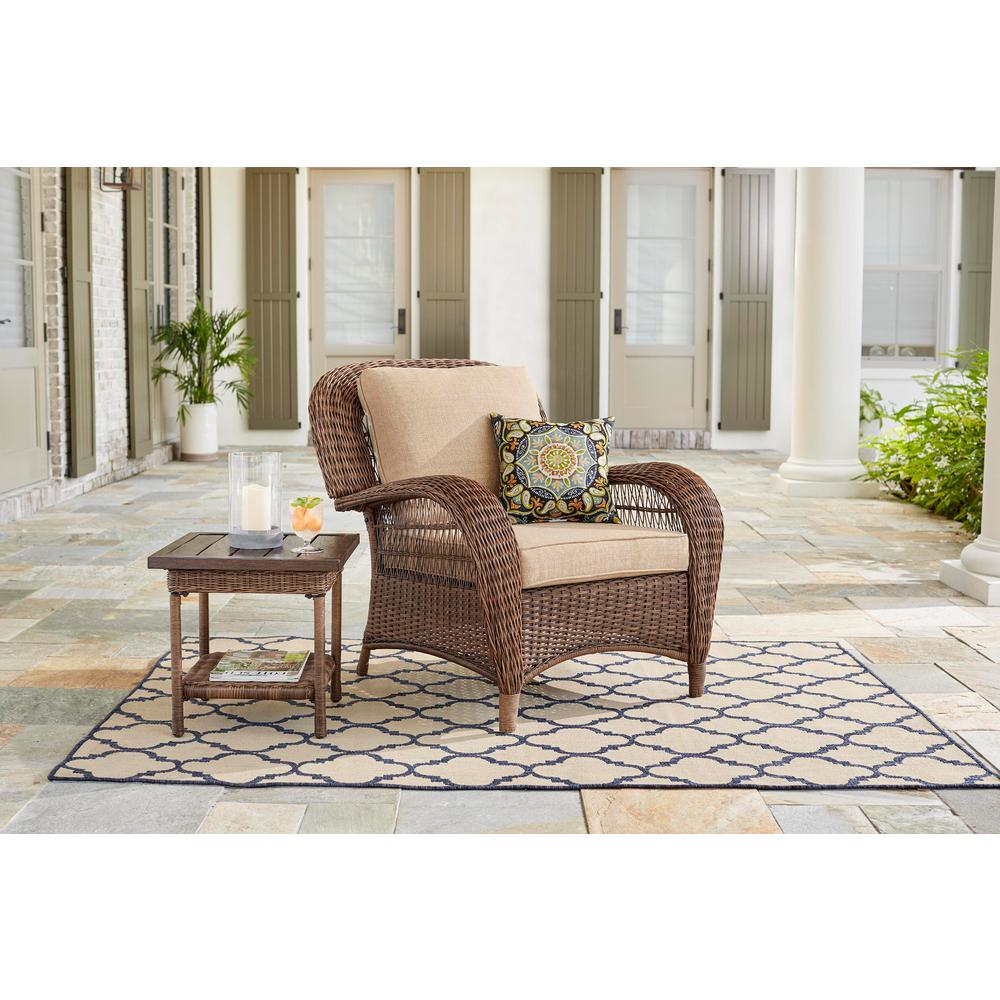 Stationary Chair Hampton Bay Beacon Park Stationary Wicker Outdoor Lounge Chair With Toffee Cushions