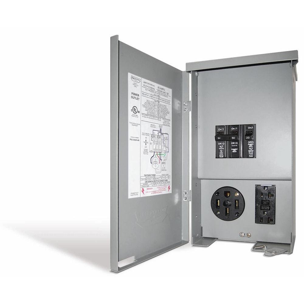 hight resolution of connecticut electric 60 amp rv panel outlet with 50 amp receptacle 200 ge breaker panel diagram electrical sub panel breaker 50 rv plug