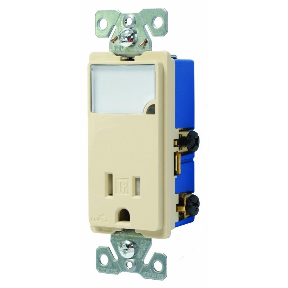 medium resolution of 3 wire receptacle combo nightlight with double pole tamper resistant ivory