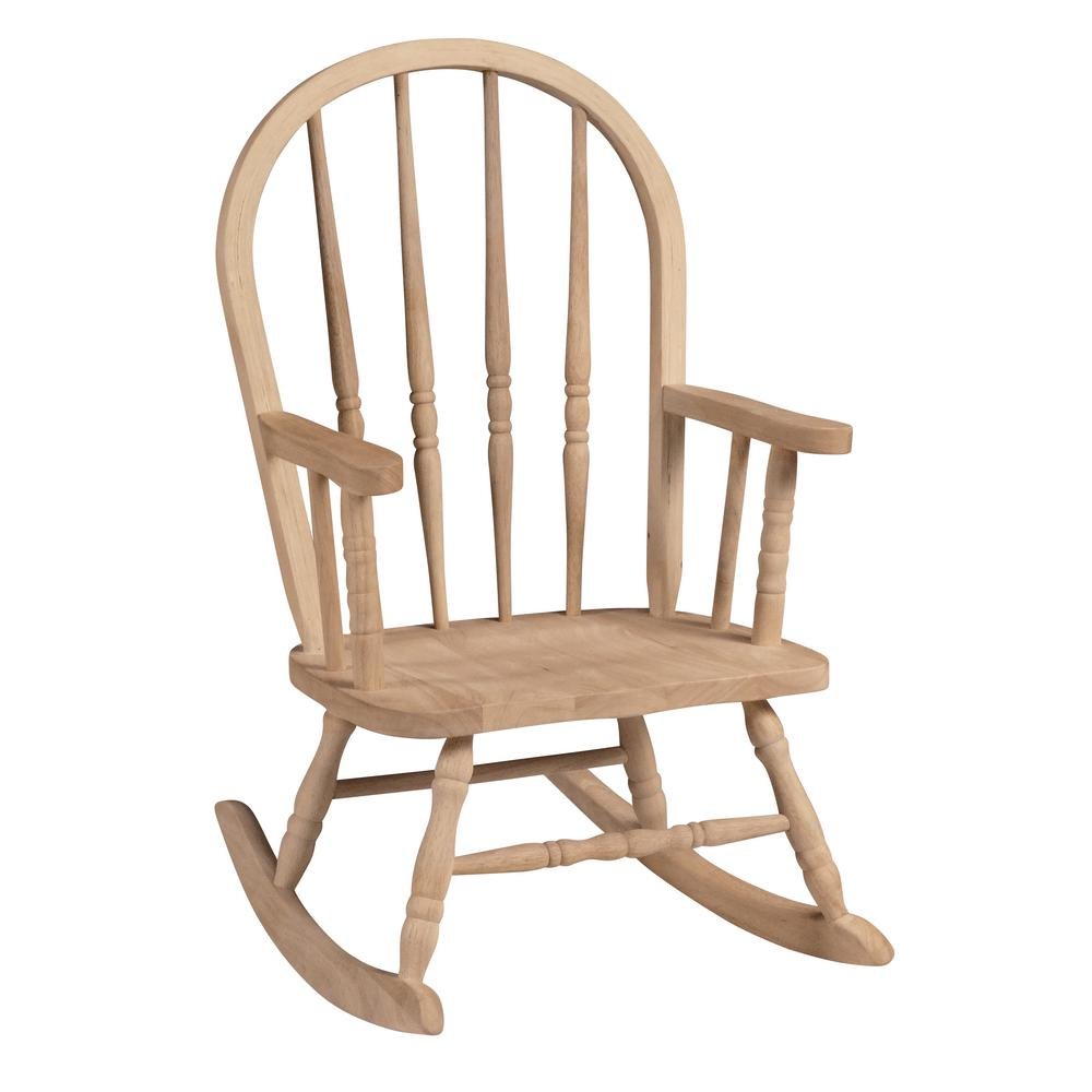 Child Wooden Rocking Chair Unfinished Wood Rocking Windsor Kids Chair