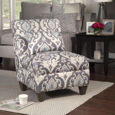 damask accent chair dallas cowboys folding chairs the home depot blue and cream slate large with pillow