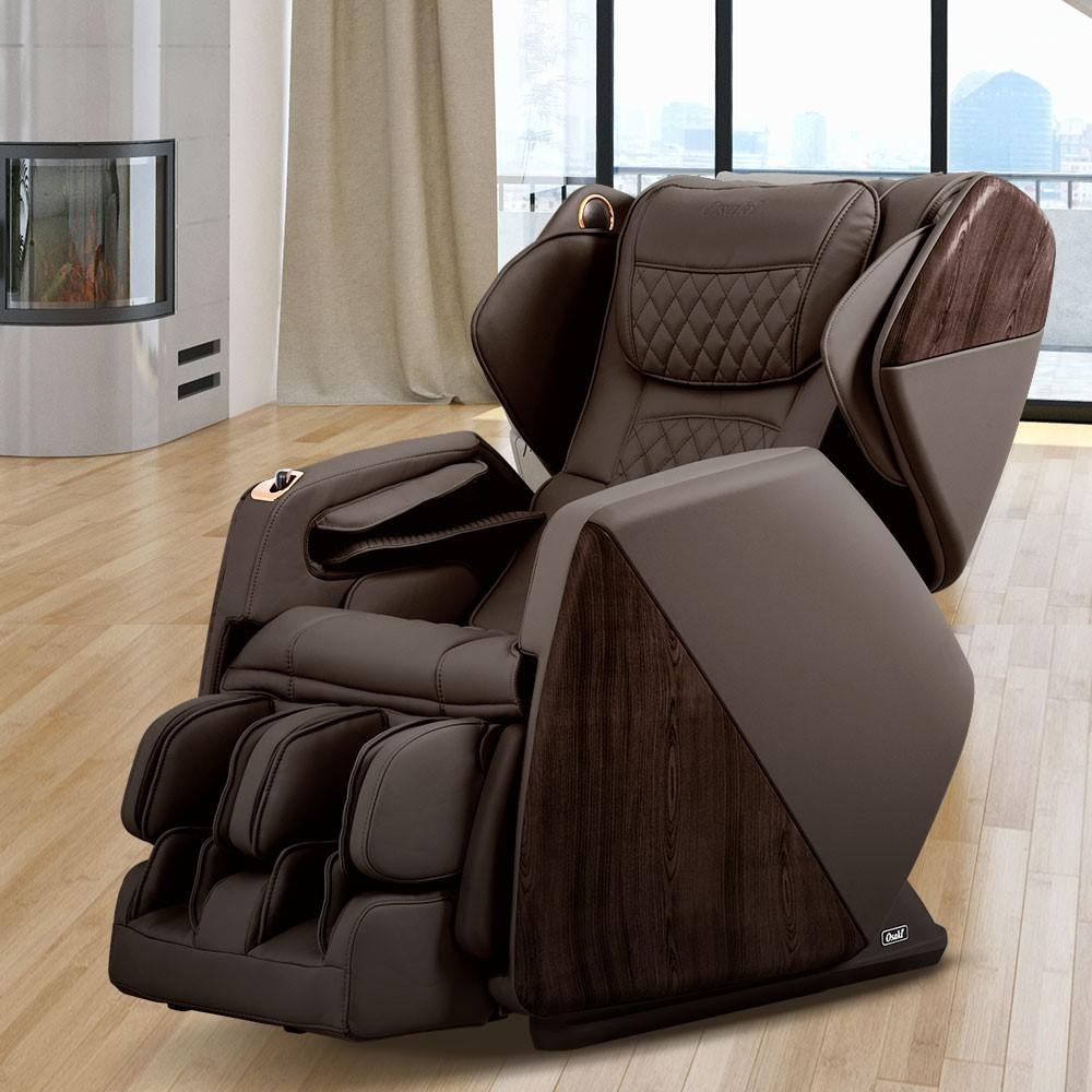 Titan Chair Pro Series Soho Brown Faux Leather Reclining Massage Chair With Bluetooth Speakers And 4d Massage