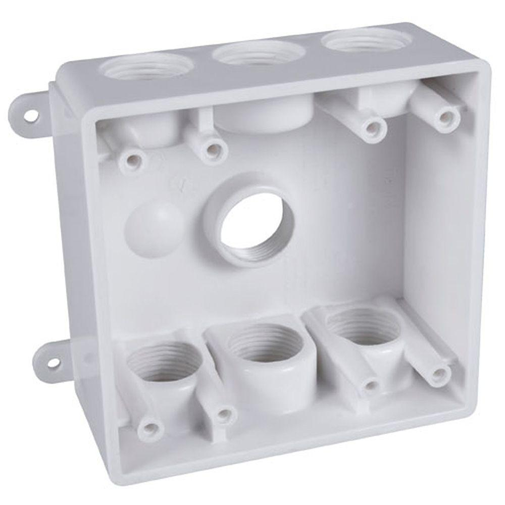 medium resolution of 2 gang weatherproof box with seven 1 2 in or 3 4 in outlets