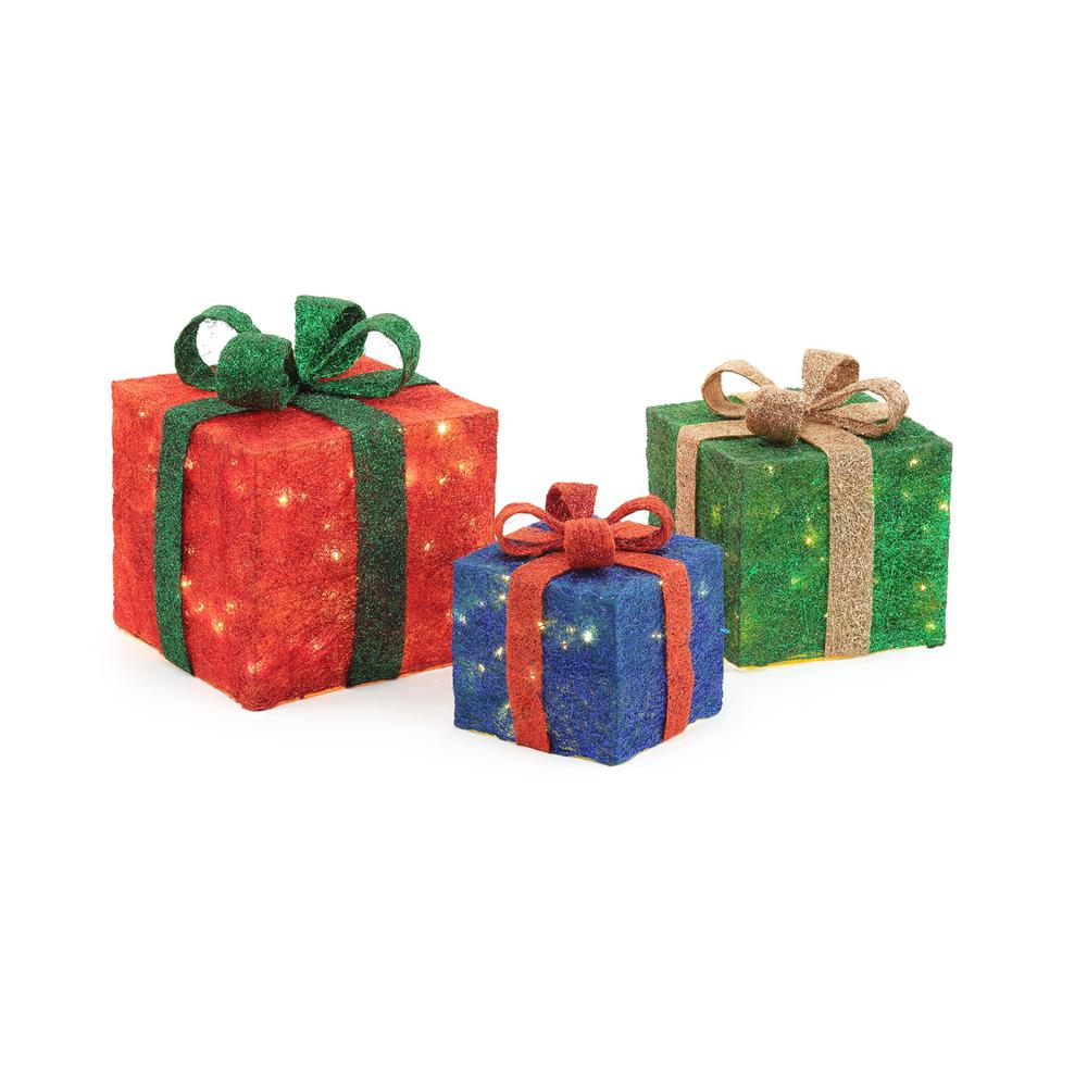 medium resolution of pre lit gift boxes yard decor set of 3