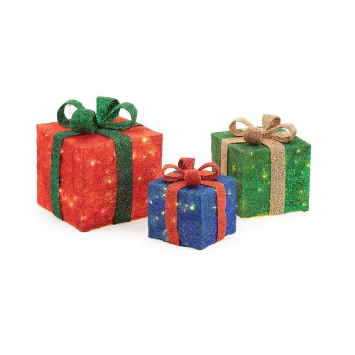 small resolution of pre lit gift boxes yard decor set of 3