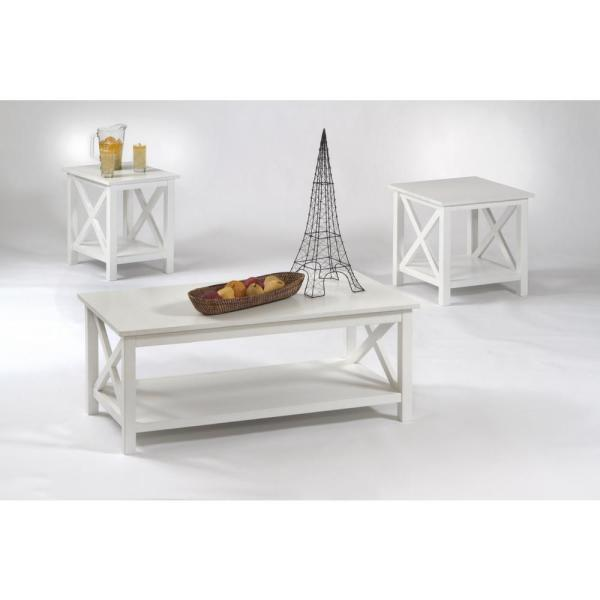 seascape i 3 piece textured white rectangle wood coffee table set with lift top