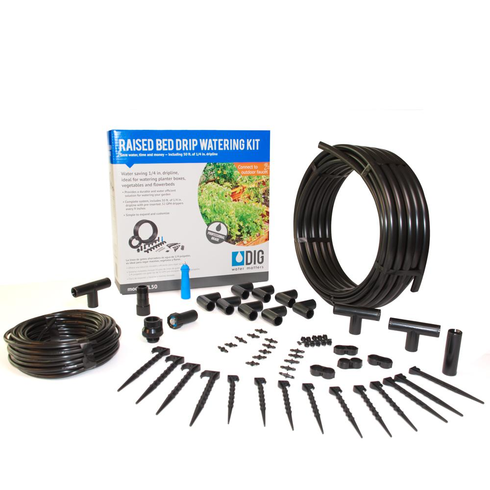 Dig Raised Bed Garden Drip Irrigation Kit