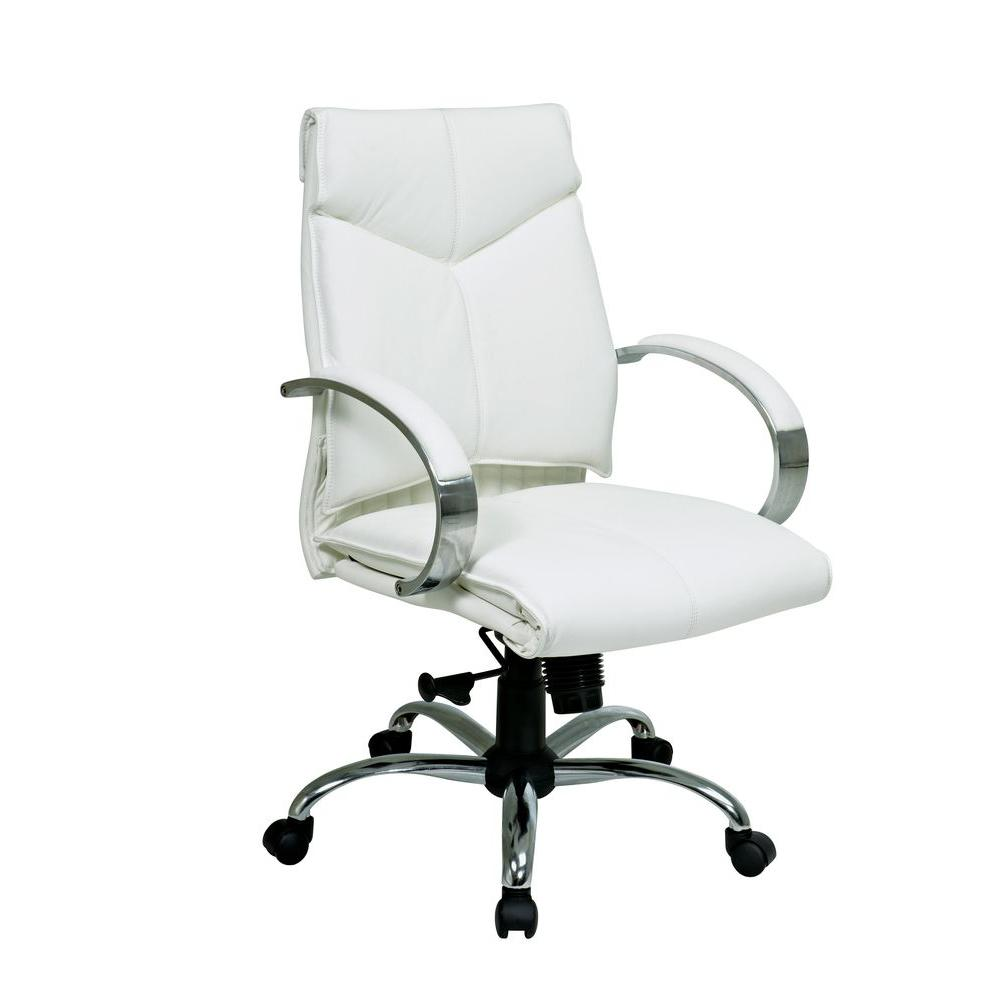 modern white desk chair turquoise dining room chairs pro line ii leather mid back executive office 7271 the