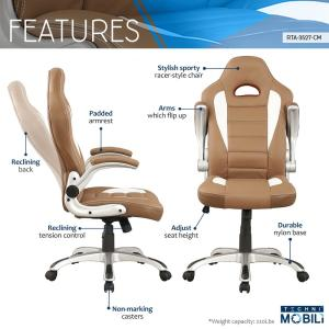 durable office chairs ebay uk chair back covers camel high executive sport race with flip up arms 6