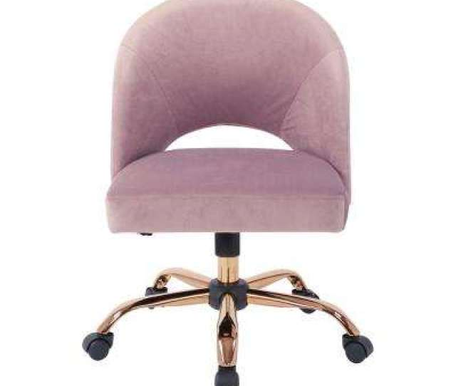 Lula Office Chair In Mauve Fabric With Rose Gold Base