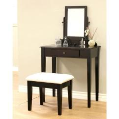 Bedroom Mirror Chair Eames Aluminum Group Makeup Vanities Furniture The Home Depot 3 Piece Expresso Vanity Set