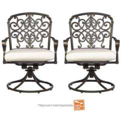 Swivel Rocker Outdoor Dining Chairs Stretching Chair Gym Patio The Home Depot Edington Cast Back Pair Rockers
