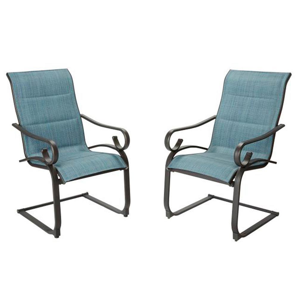 Hampton Bay Spring Patio Dining Chair Padded Sling Denim