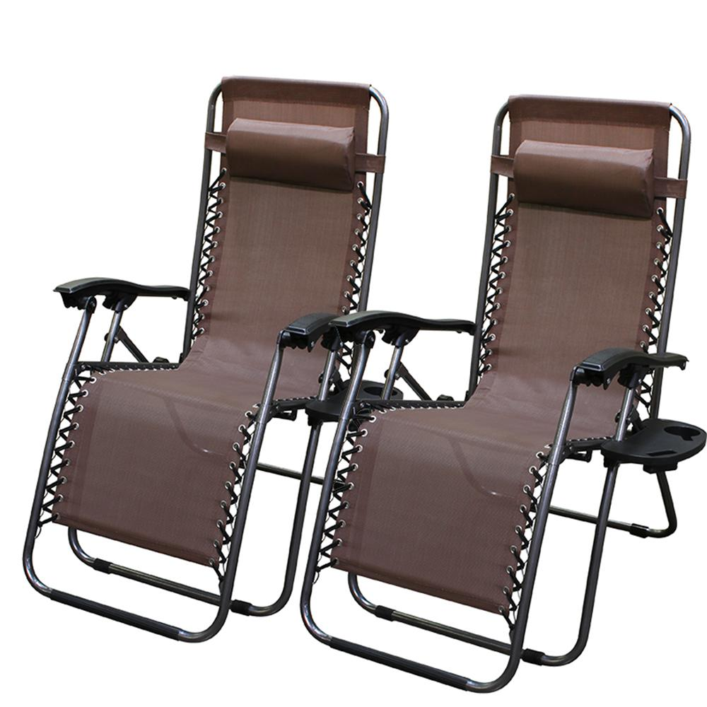 Zero Gravity Outdoor Lounge Chair Barton Zero Gravity Brown Adjustable Plastic Outdoor Lounge Chair Set Of 2