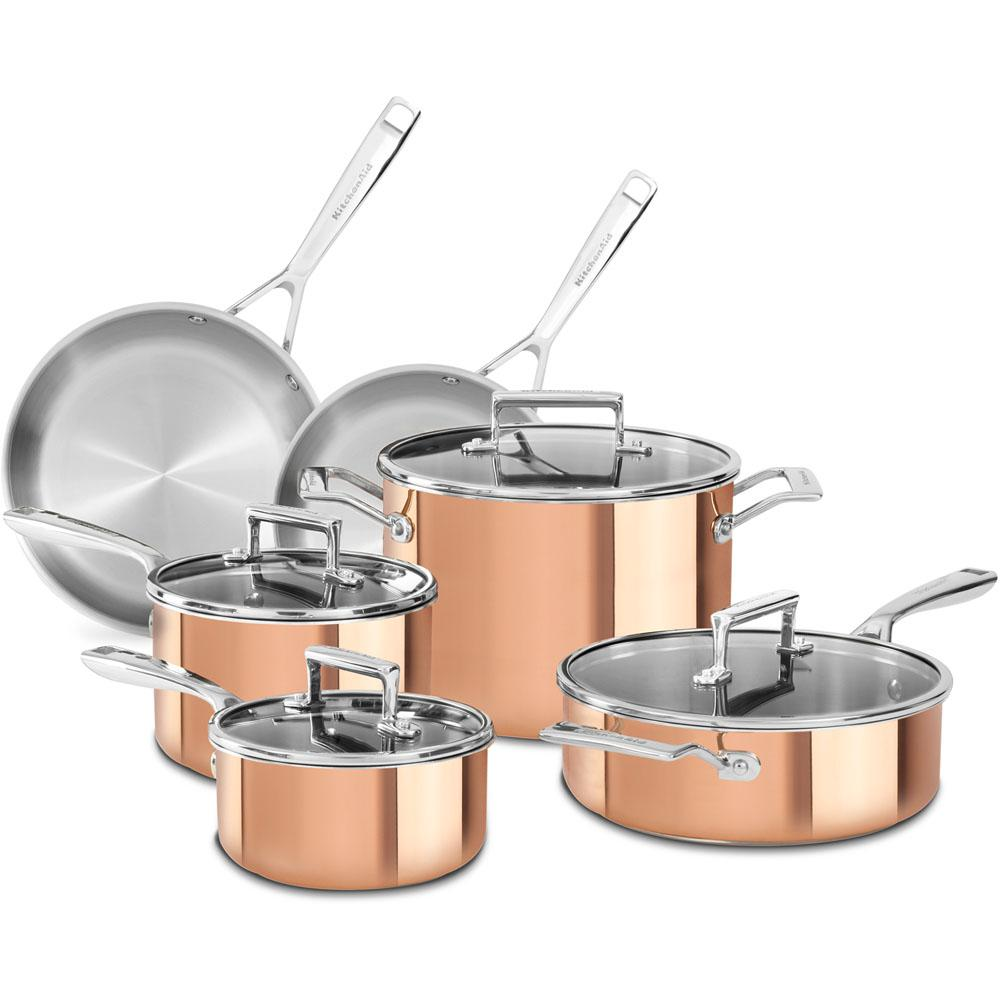 copper kitchen aid cabnets kitchenaid 10 piece cookware set with lids kc2ps10cp the
