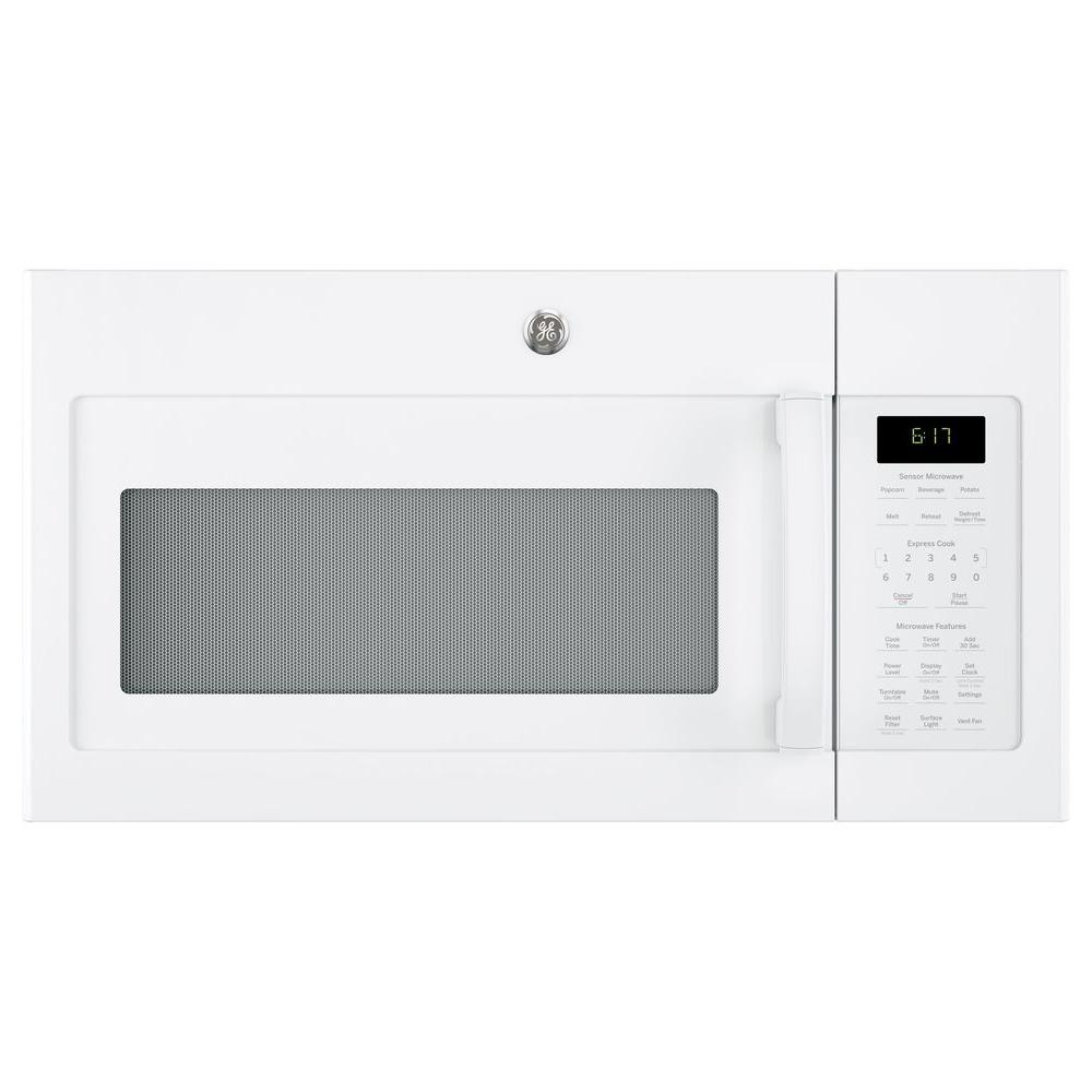hight resolution of ge 1 7 cu ft over the range microwave with sensor cooking in white