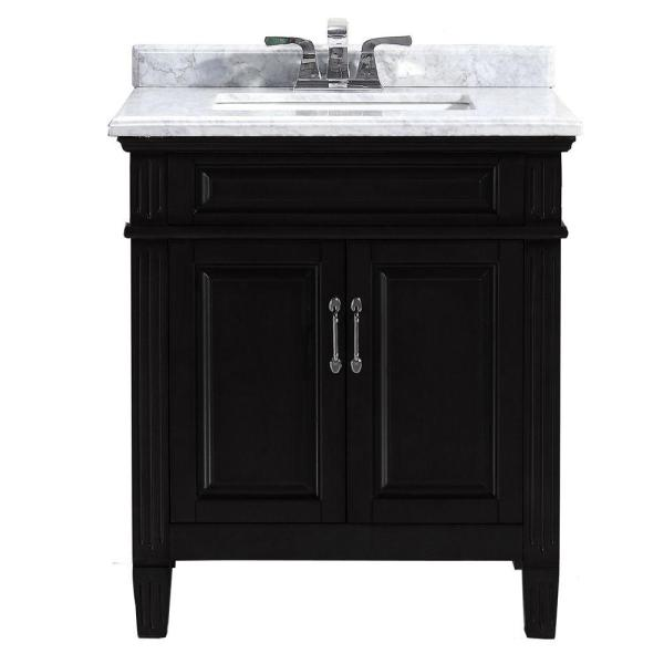 Black 30 Inch Bathroom Vanity with Top