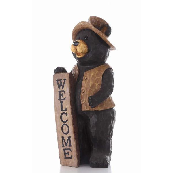 Bear Standing Sign Outdoor Decor Garden Statue