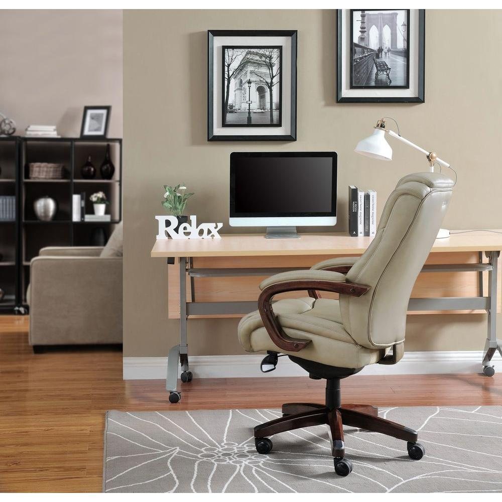desk chair home office spool ethan allen beige chairs furniture the depot miramar taupe bonded leather executive