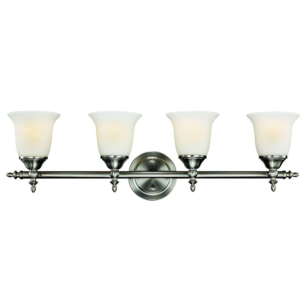 medium resolution of hampton bay olgelthorpe 4 light brushed nickel vanity light with bell shaped frosted glass shades