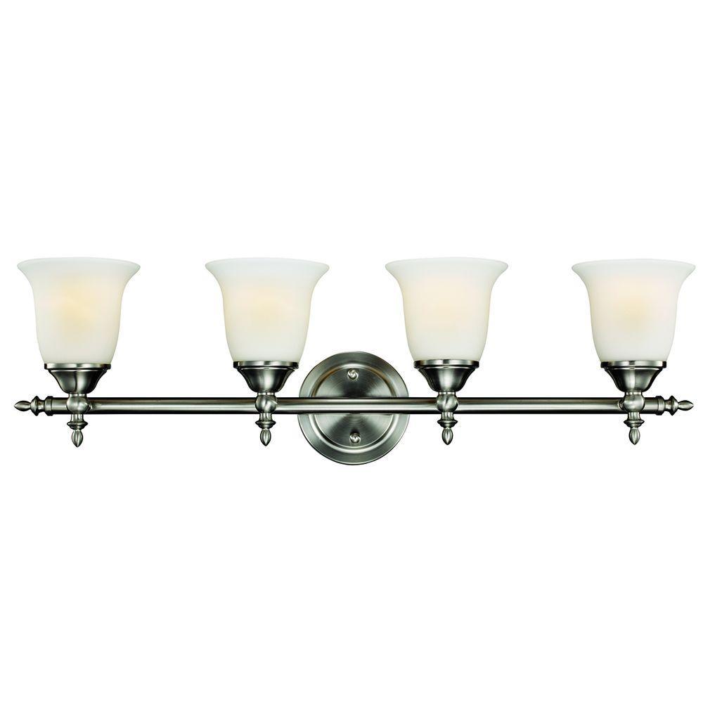 medium resolution of hampton bay olgelthorpe 4 light brushed nickel bathroom vanity light with bell shaped frosted glass