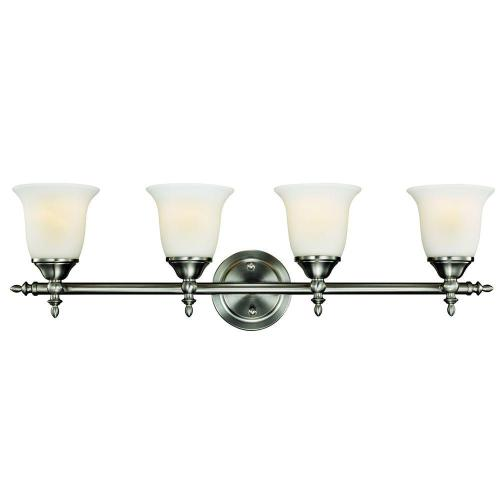 small resolution of hampton bay olgelthorpe 4 light brushed nickel vanity light with bell shaped frosted glass shades