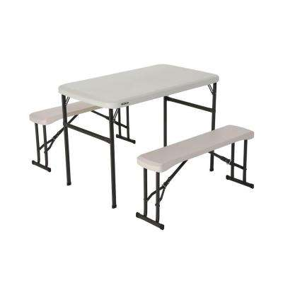 folding chair picnic table nursery grey and bench set lifetime tables chairs furniture 3 piece almond fold in half with benches