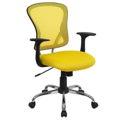 yellow office chair hanging trolley chairs home furniture the depot mid back mesh swivel task with chrome base