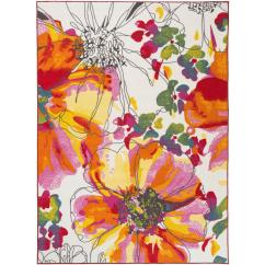 Non Skid Kitchen Rugs Appliance Packages Modern Bright Flowers Non-slip (non-skid) Multi Area Rug 5 ...