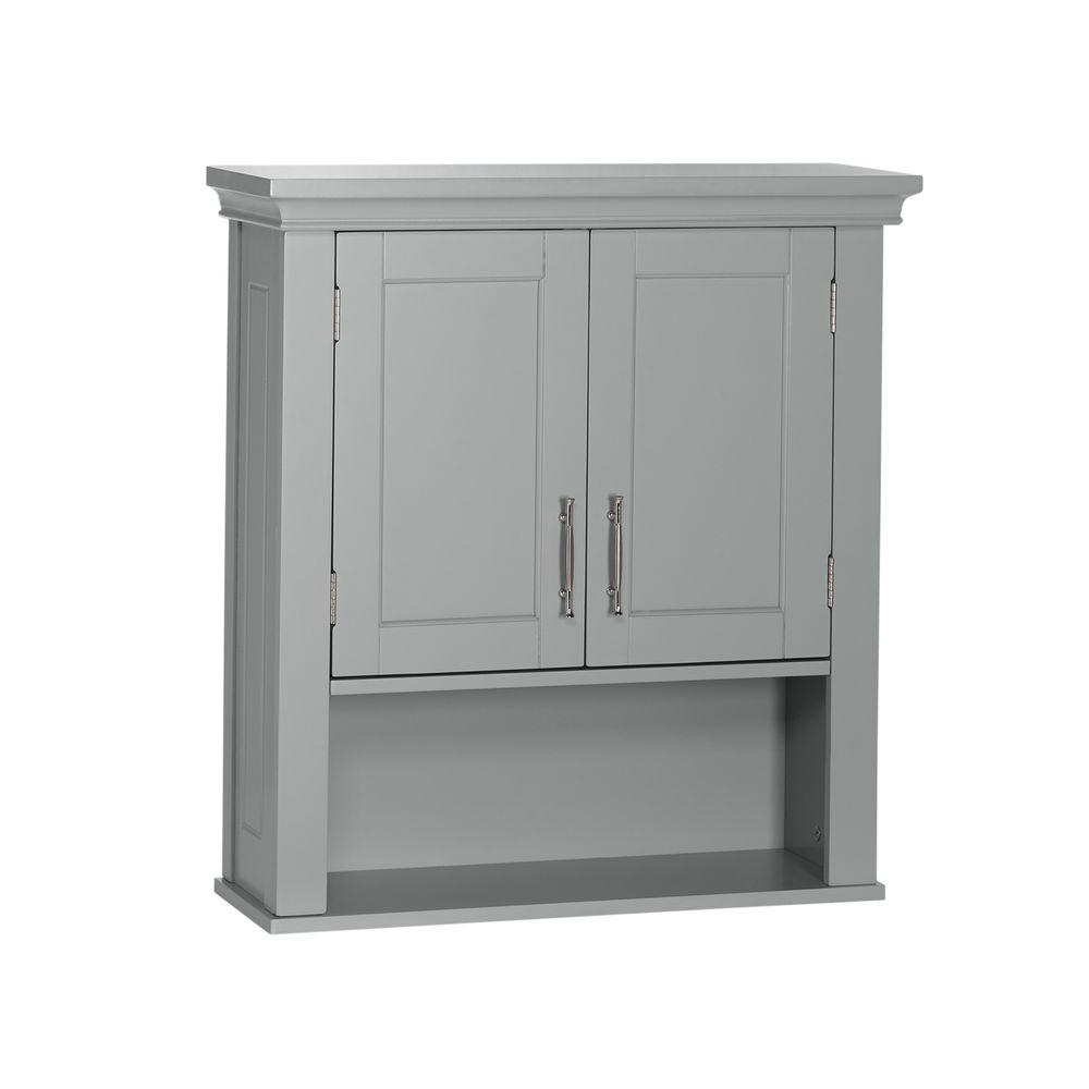 Wall Cabinets For Bathrooms Riverridge Home Somerset Collection 22 88 In W X 24 38 In H X 7 88 In D 2 Door Wall Cabinet In Gray